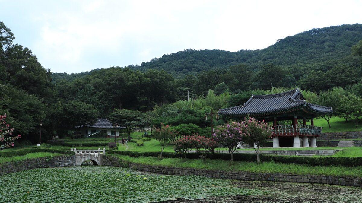lago y casa en bioma bosque templado