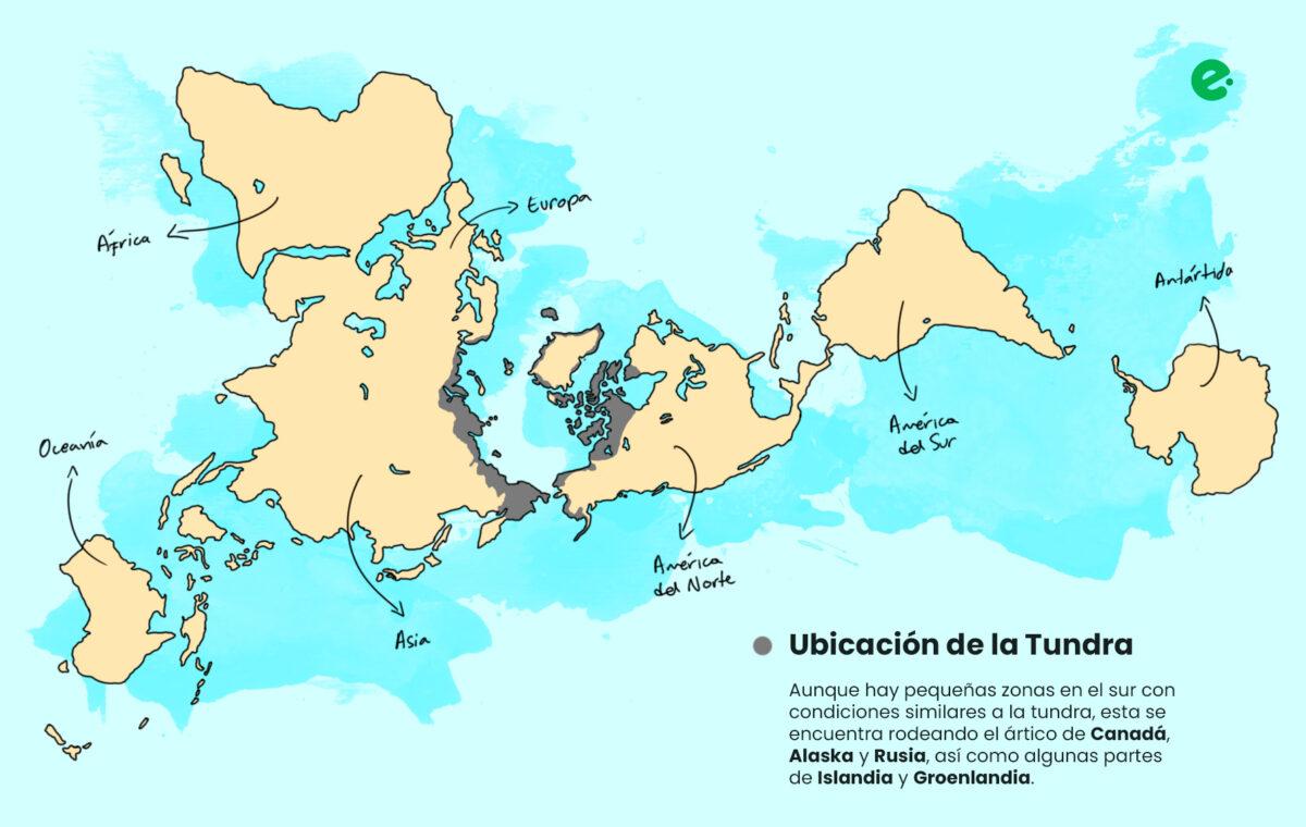 mapa con la ubicacion de la tundra en el mundo