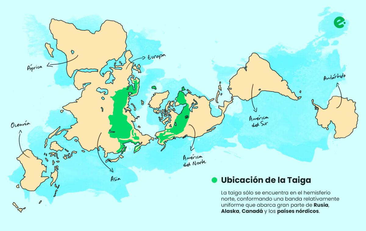 mapa con la ubicacion de la taiga en el mundo