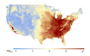mapa de los niveles de contaminacion del aire por material particulado en estados unidos en el año 2000