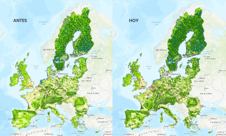 mapa con comparacion de la deforestacion del pasado frente a la actual
